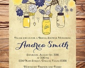 Navy Yellow Mason Jars Bridal shower Invitation,Yellow, Vintage Bridal Shower, Wedding Shower,Mason Jars, Branches, Yellow, Brown, 5226