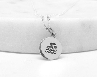 Swimmer Necklace - Swimmer Charm - Fitness Necklace