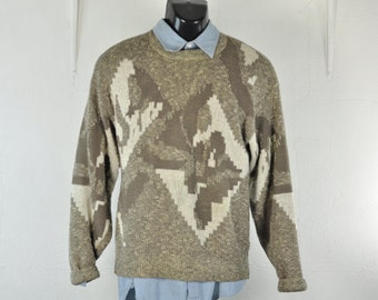 1980's Retro Sweater Jumper Medium Crew Neck Bill Cosby Gray Taupe Geometric Knit Pullover