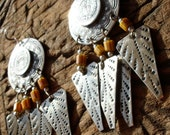 Moroccan large round hand engraved bead earrings with silver hooks
