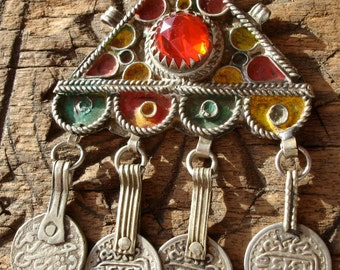 Moroccan  jewel coin and enamel pendant or headpiece with three loops
