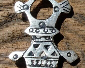 Moroccan small  Tuareg cross pendant with zig zags