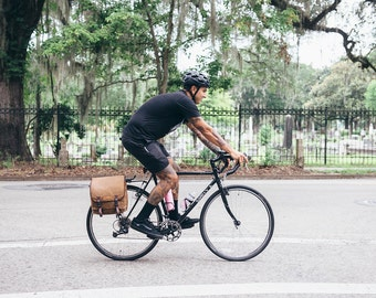 Light brown / Commuter Pannier, waxed canvas bicycle bag