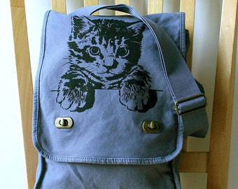 Cat Canvas Messenger Bag Laptop Bag Bag for Women