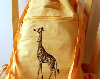 Giraffe Screen Printed Canvas Backpack