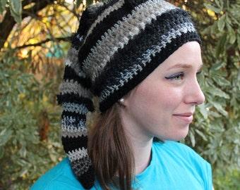 Black and Grey Crochet Pixie Beenie