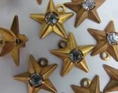 6 Vintage Rhinestone Center Brass Stars