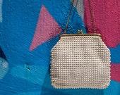 Vintage Off-White Beaded Corduroy Evening Bag