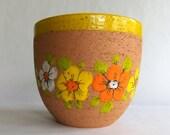 Reserved for Britt - Large Vintage Rosenthal Netter Planter Pot - Italy, Original Tag, Unglazed Terra Cotta, Bright Yellow, Orange Flowers