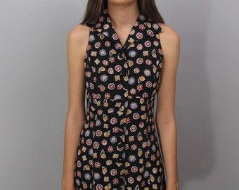Vintage 90s Floral Dress, Mini Dress, Skater Dress, Sleeveless Dress, Empire Waist Floral Dress Δ size: xs / sm
