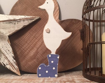 Large Wooden Duck - hand-painted, duck in wellies, any colour, free-standing