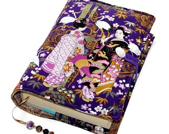 Book Cover, Handmade Bible Sleeve, Geisha Ladies in Japanese Garden, UK Seller, Suitable for Hardback or Paperback books