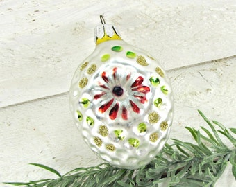 Vintage Glass Christmas Ornament, Silver Pine Cone Ornament, Handpainted Flower Ornament, Christmas Tree Ornament, 1960s Decoration Decor