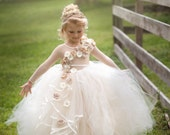 Flower girl dress, ivory and beige couture ling sleeve flower girl tutu dress