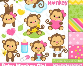 Baby Monkey Girl - Clipart and Digital paper set - Monkey clip art