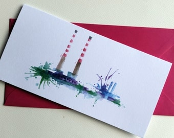 Poolbeg Stacks, Dublin Greeting Card
