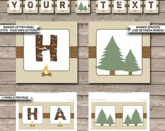 Camping Party Banner - Happy Birthday Banner - Custom Banner - Party Decorations - Bunting - INSTANT DOWNLOAD with EDITABLE text