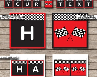 Race Car Party Banner - Happy Birthday Banner - Custom Banner - Party Decorations - Bunting - INSTANT DOWNLOAD with EDITABLE text