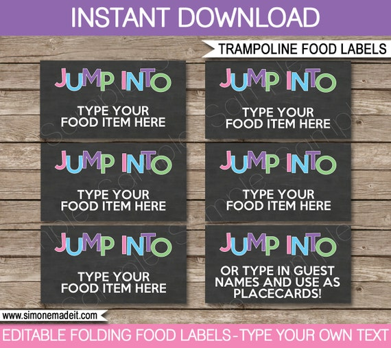 trampoline food labels buffet tags tent cards party decorations