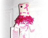 PINK Breast Cancer Dammit Doll Swear Stress Doll FAITH Handmade  by FosterChildWhimsy