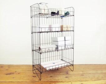 industrial shelf, mid century modern shelf, office storage, vintage wire rack, metal shelving, craft show display, toy storage, utility rack