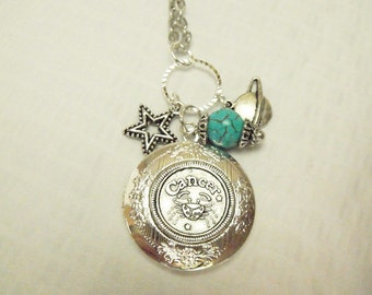 Zodiac Locket Necklace Cancer Turquoise Charms