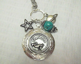 Silver Locket Necklace,        Zodiac Symbol Capricorn With Turquoise Beads And Charms Womens Gift Handmade