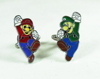 Cufflinks for Men, Video Game Mario Brothers,  Mario and Luigi Enameled Mens Accessories  Handmade