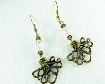 Gold Dangle Earrings,   Nautical Octopus With Swarovski Clear Beads,    Womens Gift  Handmade