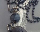 GUTTA PERCHA BASKET jet mourning  antique vintage assemblage necklace