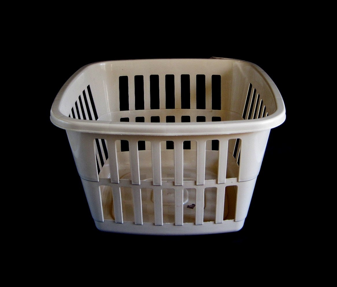 Almond Laundry Basket Plastic Clothes Hamper By