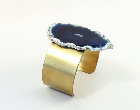 Big stone bracelet agate geode bracelet big blue stone cuff gold brass agate geode cuff navy blue agate bracelet