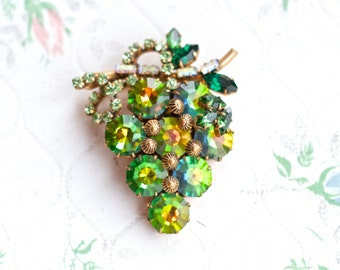 Green Grapes Lapel Pin - Faceted Glass Antique Brooch