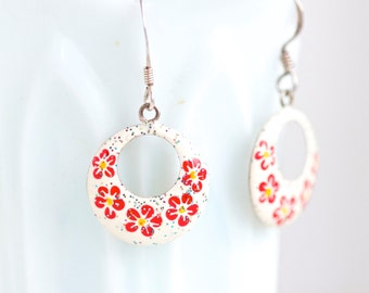 Red Flowers on White Earrings - Sterling silver Dangle Earrings
