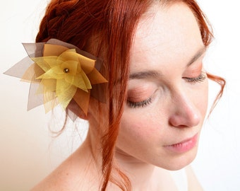 Brown gold ombre organza lotus flower hair jewelry
