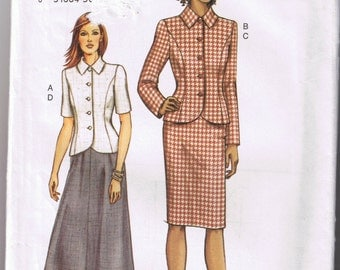Vogue 7690 - Very Easy Misses / Misses Petite Top and Skirt - Sizes 20, 22, 24 - UNCUT Factory Folded