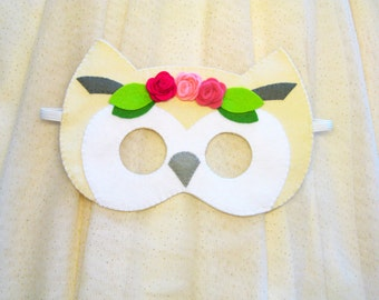 White owl mask for girl felt roses blossom handmade Dress up play accessory childrens adult party favor Theatre roleplay - gift for girl