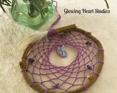 Dream Catcher - abalone shell willow hoop mystic purple small dreamcatcher