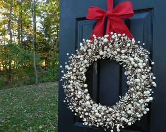 Christmas Wreath - Berry Wreath - Door Wreath - Holiday Wreath - Many Bow Options