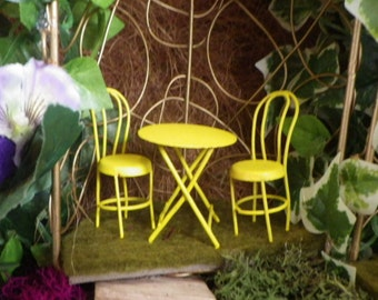 Yellow Fairy Garden Table and Chairs for Two