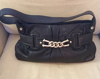 Chocolate Brown Soft Leather Handbag with Gold Chain Accent by Via Spiga