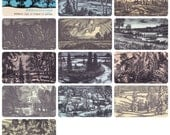 Seasons, 12 woodcuts by F. Konstantinov. Complete Set of 12 Postcards in original cover -- 1969