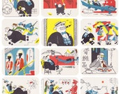 """S. Marshak's Poem """"Mr Twister in the Land of the Bolsheviks"""", Drawings by V. Ginukov. Complete Set of 12 Postcards in original cover -- 1971"""