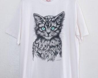creepy kitten tshirt - XL