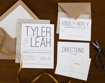 Bold Type Wedding Invitation Suite