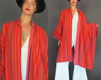 vintage striped southwestern blanket shawl // hippie poncho // boho cape // wool // native american jacket