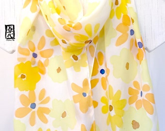 Scarf Yellow Fashion, Scarf Gift for Wife,  Lightweight scarf, Handpainted Scarf, Lemon Yellow Wildflowers Scarf, Takuyo, 11x60 inches.