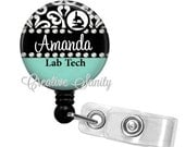 Retractable Badge Holder, Personalized Lab Tech Damask, Choice of Badge Reel, Carabiner, Lanyard, or Stethoscope ID Tag