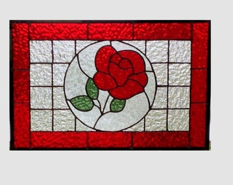 Stained glass panel window rose red suncatcher stained glass window panel window hanging flower 0172 17 1/4 x 11 1/4