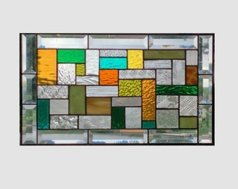 Bevel Stained glass panel window hanging geometric stained glass window panel green amber clear modern stained glass  0136 19 1/4 x 11 1/4